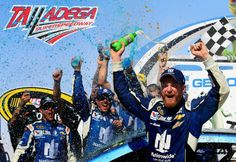 Dale Earnhardt Jr. celebrates in Victory Lane after winning the Talladega 500 NASCAR Sprint Cup Series auto race at Talladega Superspeedway, Sunday, May 3, 2015, in Talladega, Ala. The win is his sixth at Talladega. (AP Photo/David Tulis)