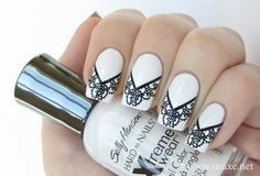 White background black lace very clean and pretty-Lace Nail Art Designs - Fashion Diva Design---pinned by Annacabella