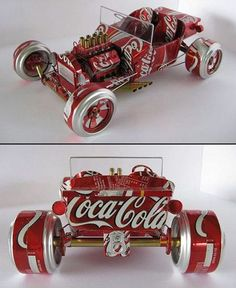 Miniature cars from aluminum cans. After drinking soda from aluminum cans, you can recycle your soda cans to create interesting projects instead of tossing the empty cans into the garbage or recycling bin. Aluminum Can Crafts, Metal Crafts, Pop Can Crafts, Fun Crafts, Recycle Cans, Recycling, Repurpose, Cola Dose, Pop Can Art