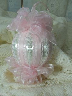 Original Design, Handmade Christmas ornament using satin covered styrofoam vintage ball. Follow the links to see more pictures.