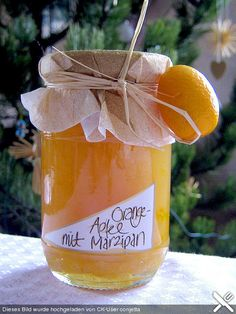 Apple - orange jam with marzipan - Backen und Kochen - mini caramel apples Jam Recipes, Gourmet Recipes, Vegetarian Recipes, Recipies, Chutneys, Marzipan Recipe, Orange Jam, Jam And Jelly, Chocolate Fondant