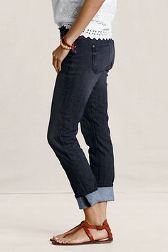 Women's Slim Leg Jeans from Lands' End Canvas. Rinsed Deep Indigo
