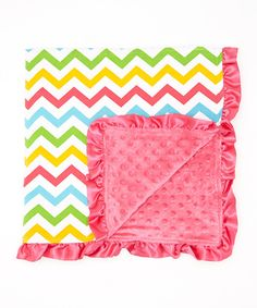 Look at this Tutu AND Lulu 32'' x 32'' Rainbow & Hot Pink Zigzag Stroller Blanket on #zulily today!
