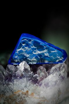 Siberian Blue quartz on amethyst | This photo was taken on July 28, 2009 in Chrichton, Victoria AU