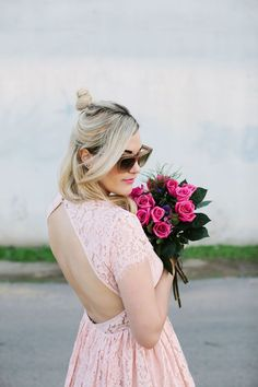 Pretty pink lace dress.