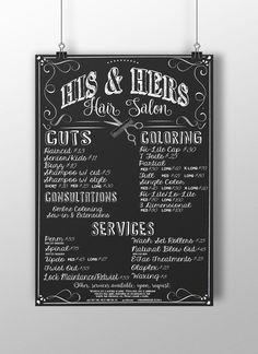Hair Salon Sign Pricing, barbershop sign, barbershop menu, barbershop pricing menu signs