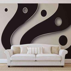 Absztrakt poszter tapéta - fekete fehér #abstract #poster #walldecor #wallmurals #wallpaper #posztertapeta #fototapeta #tapeta Red And White Stripes, Black And White, Love Seat, Couch, Pattern, Room, Furniture, Design, Home Decor