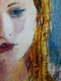 """Geskea Andriessen  Fragment uit """"in gedachten verzonken"""" 2017 Tobasign op glanskatoen. Handgeschilderd en freemotion"""