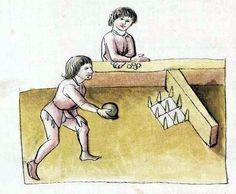Nine pins bowling. Cologny, Fondation Martin Bodmer, Cod. Bodmer 91, 94v, 1468, Hugo von Trimberg - Der Renner · Johann Hartlieb - Alexanderroman