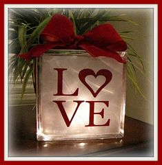glass block love vinyl holiday, craft, valentine day, block prints, christmas lights, vinyl, valentine decorations, glass block, the block