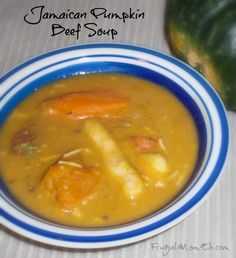 This Jamaican Pumpkin Beef Soup is filled with dumplings, Jamaican Pumpkin & Beef. Perfect for a delicious and filling family dinner! Jamaican Soup, Jamaican Cuisine, Jamaican Dishes, Jamaican Recipes, Jamaican Chicken Soup, Great Recipes, Soup Recipes, Chicken Recipes, Cooking Recipes