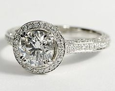 heirloom halo micropavé diamond engagement ring. platinum (5/8 ct. tw.)
