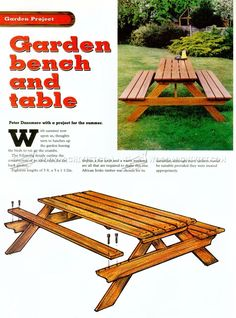 Garden Picnic Table Plans - Outdoor Furniture Plans
