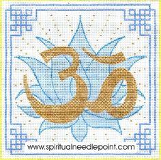 "Spiritual needlepoint - Om lotus, hand-painted, 7"" x 7"" on 13 mesh canvas, made in Sedona Arizona"