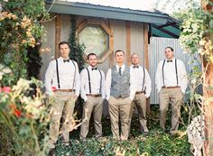 rustic suspender + bowtie groomsmen
