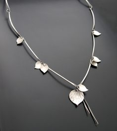 "Necklace | Aileen Lampman. ""Bamboo"". Sterling silver.  Also available with rose gold filled stems"