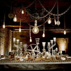 One of the best Steampunk tablescapes yet, add some unusual flowers, perfect!