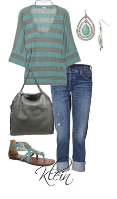 """Teal and grey"" by stacy-klein ❤ liked on Polyvore"