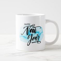 Happy New Year Blue Watercolor Abstract Giant Coffee Mug - New Year's Eve happy new year designs party celebration Saint Sylvester's Day