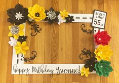 """Happy Birthday Selfie Frame This beautiful customized selfie frame is a great addition for your next special event! Perfect for any special occasion including weddings, baby showers and birthdays! This the LARGE frame measuring at 36"""" x 28"""" and is made out of durable lightweight"""