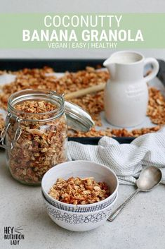 Use up your brown bananas in this healthy Coconut Banana Granola Recipe! Easy to make, vegan, and naturally sweetened with maple syrup, this homemade granola is perfect for breakfast or afternoon snacks. #bananagranola #vegangranola