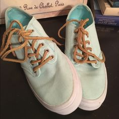 BRAND NEW Teal Vans with leather laced BRAND NEW, never worn teal Vans with white soles & leather laces. Vans Shoes Sneakers