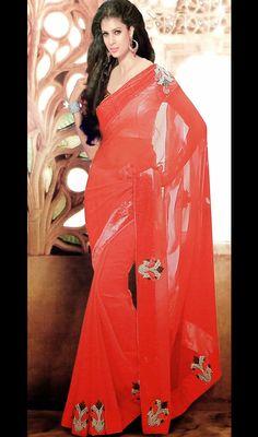 Red Shade Chiffon Saree with Border Work Price: Usa Dollar $88, British UK Pound £52, Euro65, Canada CA$96 , Indian Rs4752