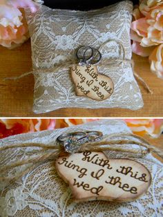 Burlap & Lace Ring Bearer Pillow Personalized Wood Heart With This Ring I Thee Wed Rustic Woodland Shabby Chic Wedding Pillow by justforkeeps