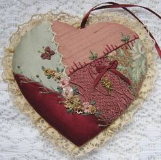 crazy quilted heart made 1997  tuto diy