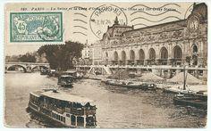 Vieille carte postale de la Seine, Paris