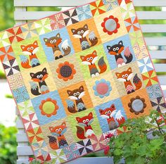 Fox Fox Quilt Woodland NurseryBoy Crib Bedding Girl by Quilt Baby, Fox Quilt, Baby Bedding, Nursery Bedding, Fox Crafts, Cute Quilts, Children's Quilts, Animal Quilts, Applique Quilts
