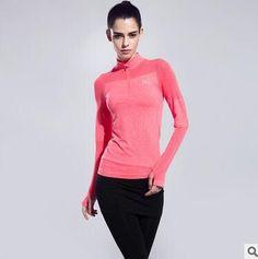 Yoga Elastic Gym Shirts Women Fitness Clothing Sportswear For Female Training Coat Hoodies Running Slim Ladies Zipper T-Shirt