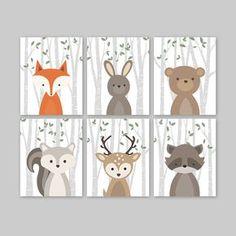 Schattig Woodland kwekerij kunst aan de muur van 6 dieren prints voor een bos thema kwekerij - schattig bos dieren decor voor kinderen slaapkamer of kinderkamer. Deze mooie muur kunst van zes prints functies van de zoetste bos dierlijke illustraties: Fox konijn dragen eekhoorn herten