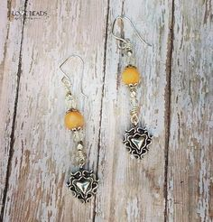 Peach aventurine heart dangle earrings with czech glass on silver-peach stone earrings-peach heart earrings-peach and silver stone earrings by ILoveBeads247 on Etsy