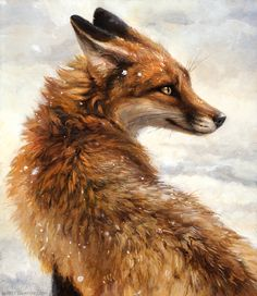 """Original acrylic on wood painting of a red fox in the winter snow.   9"""" x 11"""""""