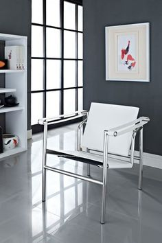 Le Corbusier Genuine Leather LC1 Chair - White by Modway on @HauteLook