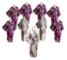 On Sale Set 9 Kimono Robes Bridesmaids Silk by ToongngeanToongtong, $179.91