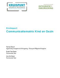 Communicatiematrix Kind en Gezin: eindrapport