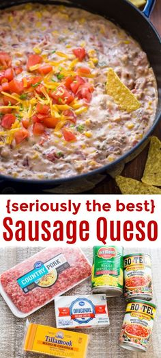 Sausage Queso Dip is creamy, cheesy and irresistibly good! A rotel queso dip recipe with real cheddar cheese, loaded with sweet corn and tomato. A party favorite! and Drink ideas Sausage Queso Dip Recipe Appetizer Dips, Yummy Appetizers, Appetizer Recipes, Snack Recipes, Easter Appetizers, Dip Recipes For Parties, Healthy Dip Recipes, Healthy Dips, Thanksgiving Appetizers