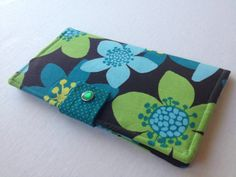 $30.00 Bifold Wallet with Snap and Zipper Pocket Green and Blue Flowers Teal Polka Dots