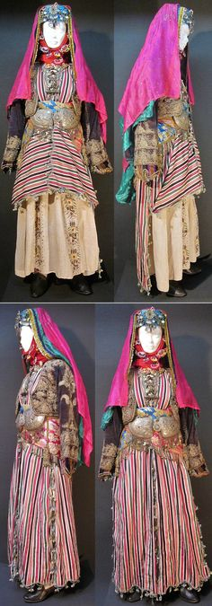 Two ways of wearing the üçetek (robe with three panels) of the bridal costume from the Aydın-Ödemiş area.  Late-Ottoman, urban (small city) style, ca. 1900.  Top pictures: both front panels are pulled up, revealing the embroideries on the 'göynek' (chemise).  Bottom pictures: they are hanging down, hiding the chemise.  (Kavak Costume Collection - Antwerpen/Belgium).