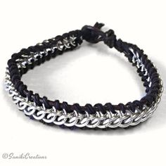 Half Persian Chainmaille leather wrapped bracelet
