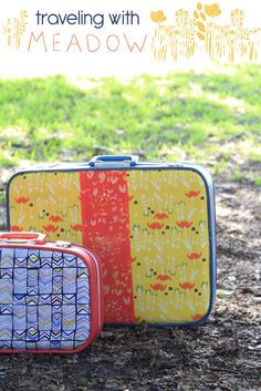Hello sewers, We have an awesome tutorial for you from our designer Leah Duncan, who designed Meadow! She's teaching us how to revamp vintage suitcases! It's a relatively simple tutorial, and it doesn't take up too much of your time! Vintage Suitcases, Vintage Luggage, Diy Craft Projects, Sewing Projects, Sunshine Bear, Puppy Backpack, Creation Couture, Art Gallery Fabrics, Sewing Tutorials