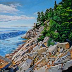 Acrylic on Gallery Canvas Lake Superior Provincial Park Available at Koyman Gallery Canadian Painters, Canadian Artists, Thunder Bay Canada, Lake Photography, Amazing Paintings, Lake Superior, Kayaking, Canoeing, Landscape Paintings