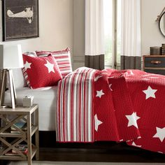 Lush Decor - 3-Piece Full/Queen Star Quilt Set in Red