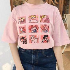 f0175273f Kawaii T Shirt Summer Women Tops 2018 Harajuku Sweet Print Sailor Moon  Loose Short Sleeve Plus