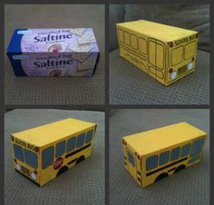 DIY Cracker Box School Bus!--would be cute to add a little slit at top and pop in a gift card.  : )