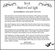 Litha Menu Ideas - Midsummer Chicken Recipe