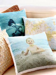 Family Photo Throw Pillows  Relive vacation memories when you snuggle up with a pillow. Scan a map or photo and print the image on transfer paper, available at office supply stores. Iron the image onto fabric. To save time, take the image to a copy center to have it copied onto the fabric for you. Sew your own pillow or attach the fabric to a small ready-made accent pillow.