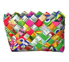 Recycled. I loved my one of these an amazing/sustaining way of life for many women all over the world!! Made from things like chip and Lolly wrappers!!